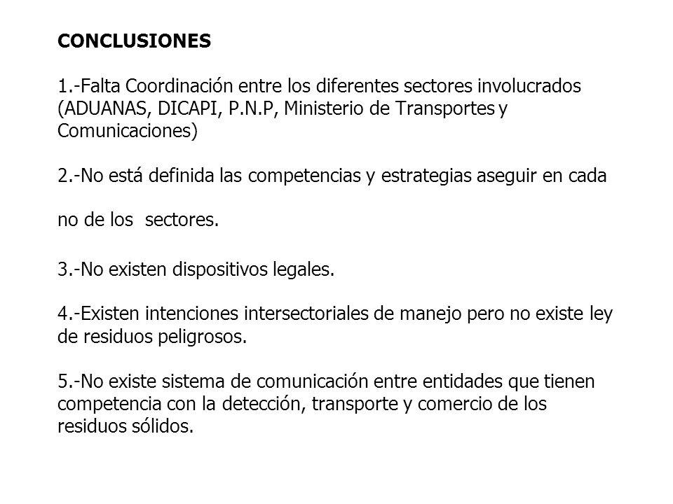 CONCLUSIONES 1.-Falta Coordinación entre los diferentes sectores involucrados (ADUANAS, DICAPI, P.N.P, Ministerio de Transportes y Comunicaciones) 2.-No está definida las competencias y estrategias aseguir en cada no de los sectores.