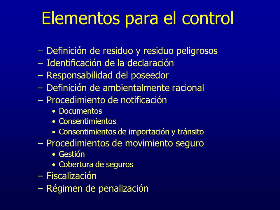 Elementos para el control