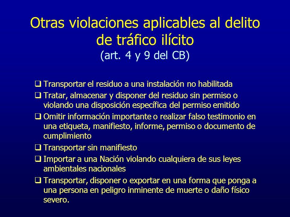 Otras violaciones aplicables al delito de tráfico ilícito (art