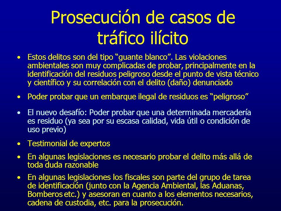 Prosecución de casos de tráfico ilícito