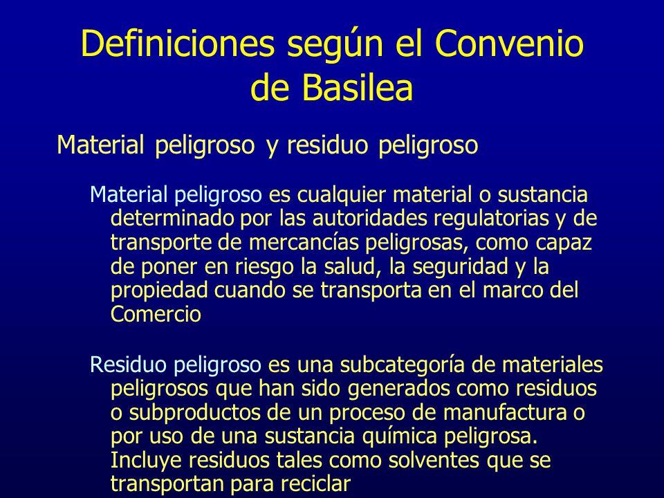 Definiciones según el Convenio de Basilea