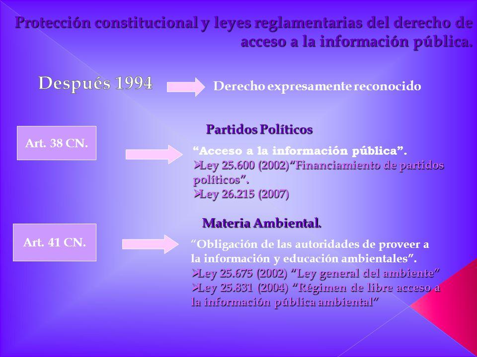 Protección constitucional y leyes reglamentarias del derecho de acceso a la información pública.