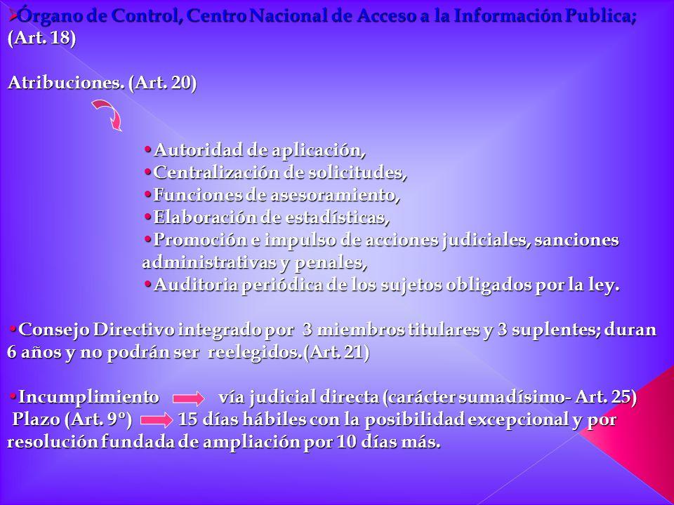 Órgano de Control, Centro Nacional de Acceso a la Información Publica; (Art. 18)