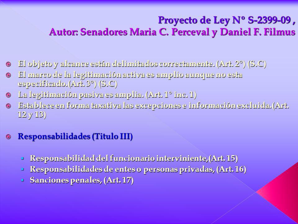 Proyecto de Ley Nº S-2399-09 , Autor: Senadores Maria C