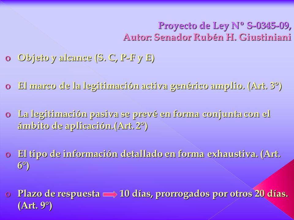 Proyecto de Ley Nº S-0345-09, Autor: Senador Rubén H. Giustiniani