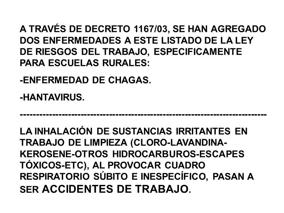 A TRAVÉS DE DECRETO 1167/03, SE HAN AGREGADO DOS ENFERMEDADES A ESTE LISTADO DE LA LEY DE RIESGOS DEL TRABAJO, ESPECIFICAMENTE PARA ESCUELAS RURALES: