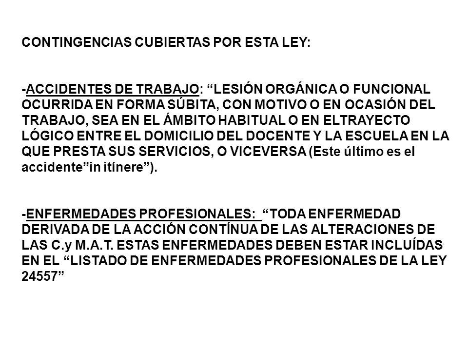 CONTINGENCIAS CUBIERTAS POR ESTA LEY: