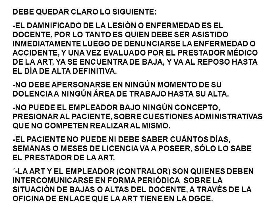 DEBE QUEDAR CLARO LO SIGUIENTE: