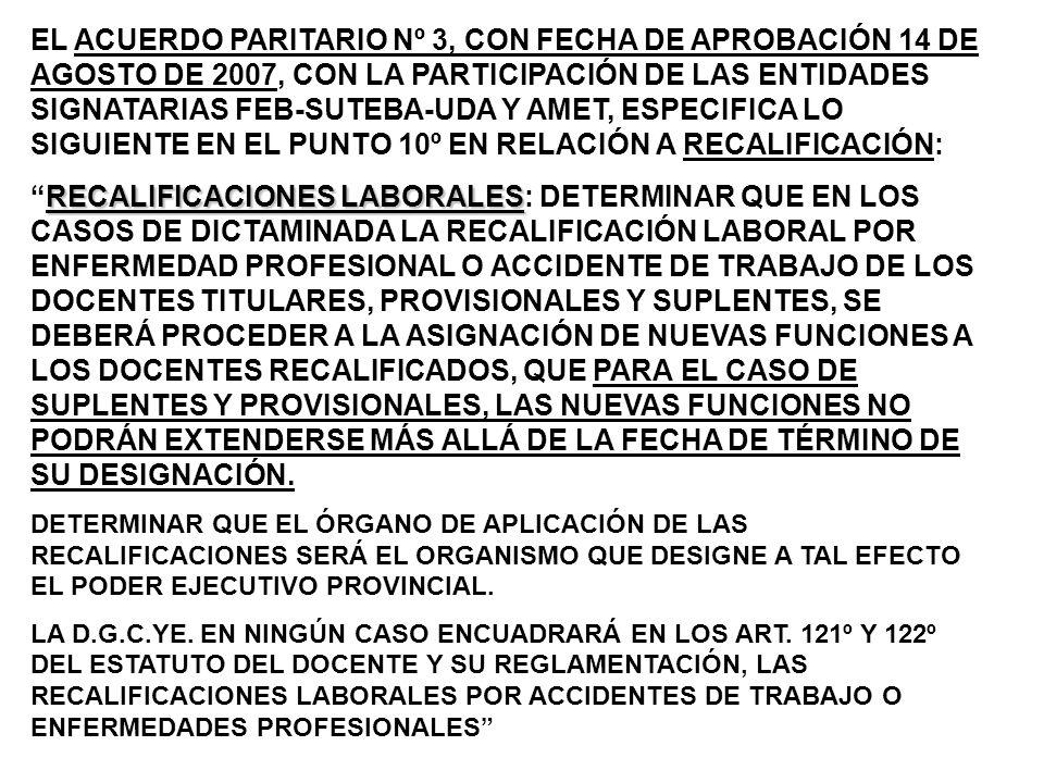 EL ACUERDO PARITARIO Nº 3, CON FECHA DE APROBACIÓN 14 DE AGOSTO DE 2007, CON LA PARTICIPACIÓN DE LAS ENTIDADES SIGNATARIAS FEB-SUTEBA-UDA Y AMET, ESPECIFICA LO SIGUIENTE EN EL PUNTO 10º EN RELACIÓN A RECALIFICACIÓN: