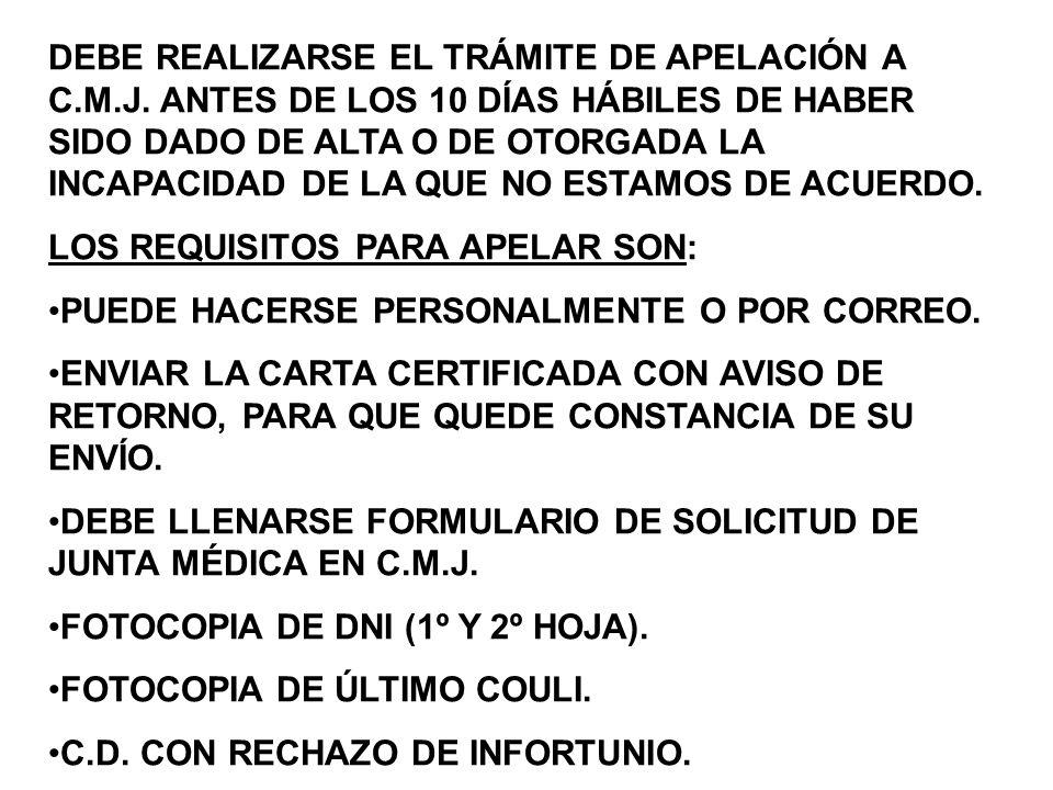 DEBE REALIZARSE EL TRÁMITE DE APELACIÓN A C. M. J