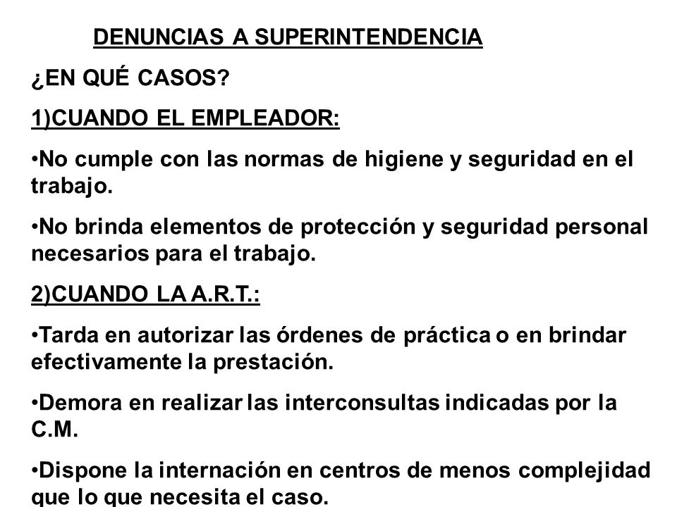 DENUNCIAS A SUPERINTENDENCIA