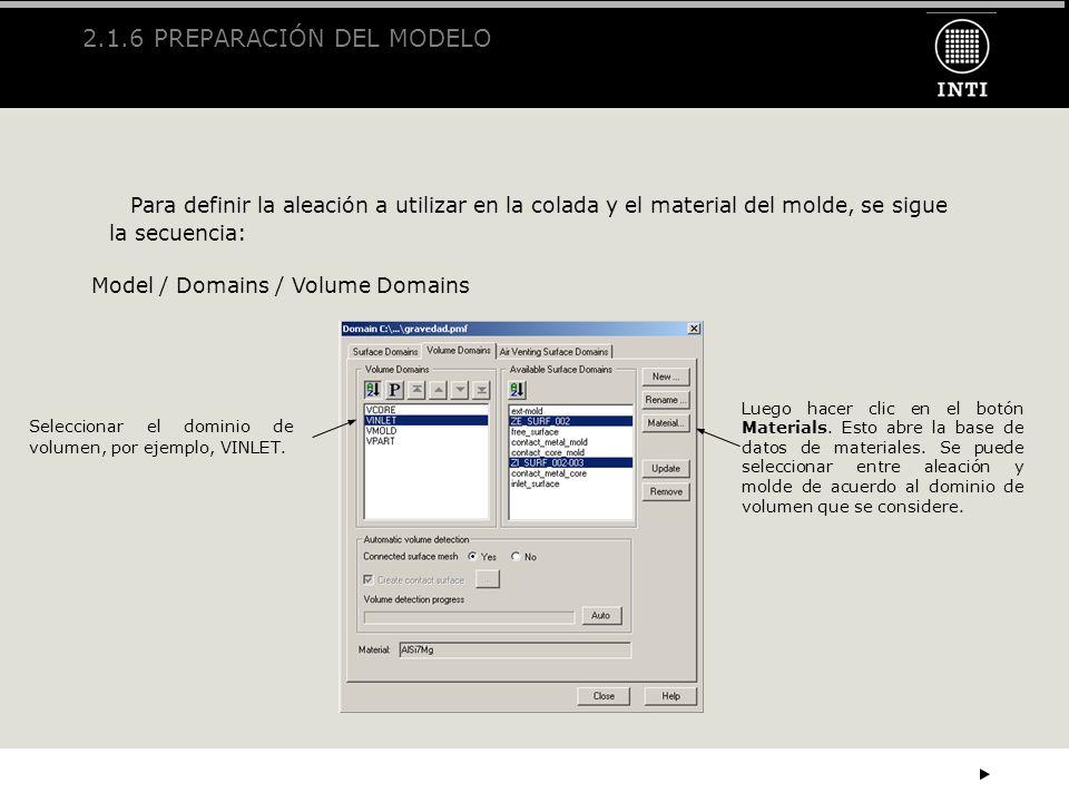2.1.6 PREPARACIÓN DEL MODELO