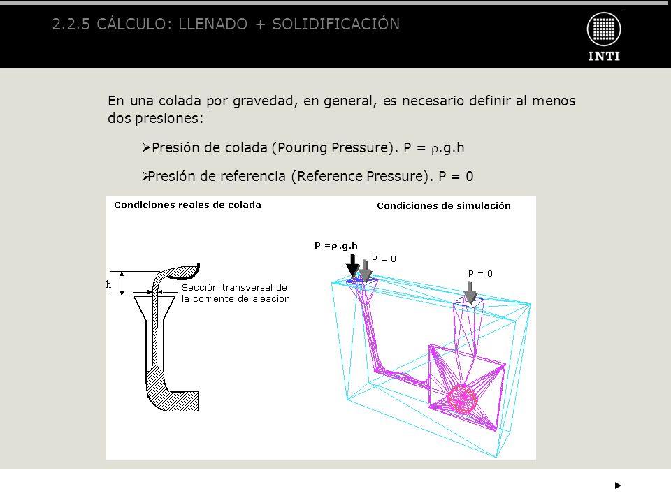 2.2.5 CÁLCULO: LLENADO + SOLIDIFICACIÓN