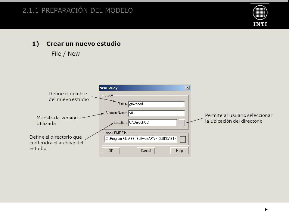2.1.1 PREPARACIÓN DEL MODELO