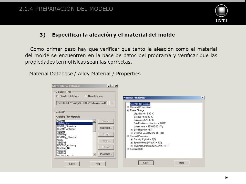 2.1.4 PREPARACIÓN DEL MODELO