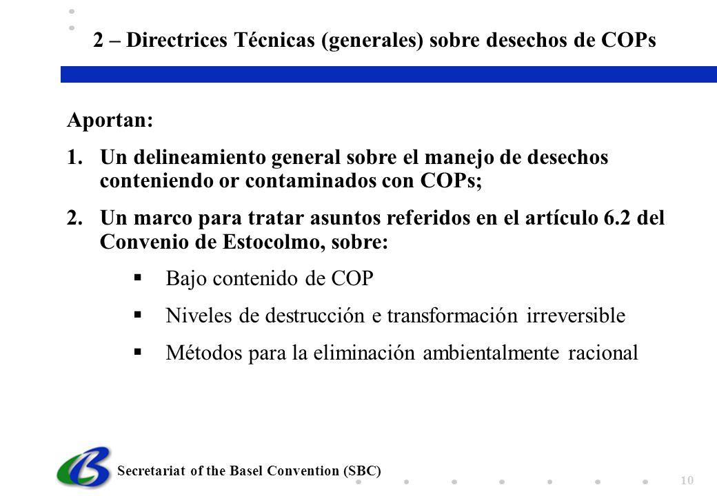 2 – Directrices Técnicas (generales) sobre desechos de COPs