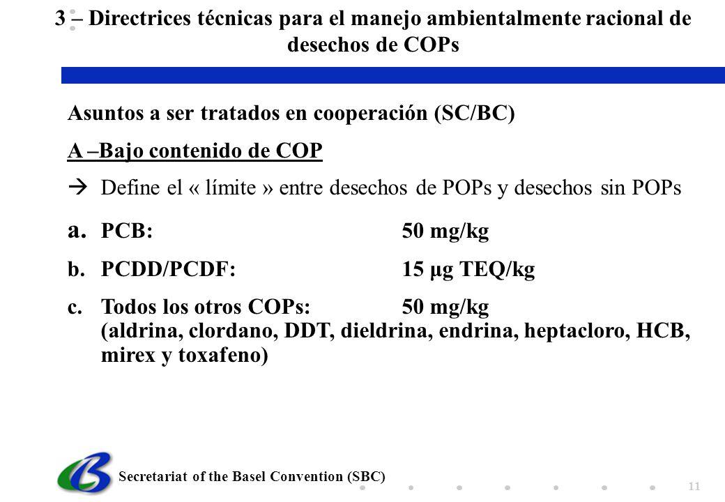 3 – Directrices técnicas para el manejo ambientalmente racional de desechos de COPs