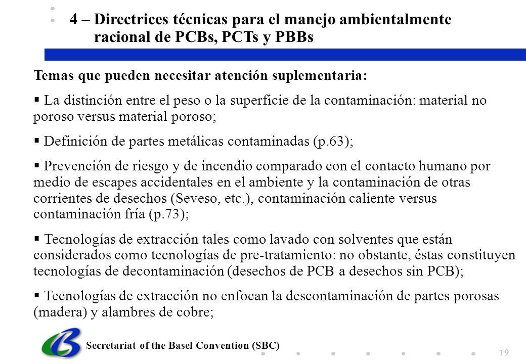 4 – Directrices técnicas para el manejo ambientalmente racional de PCBs, PCTs y PBBs