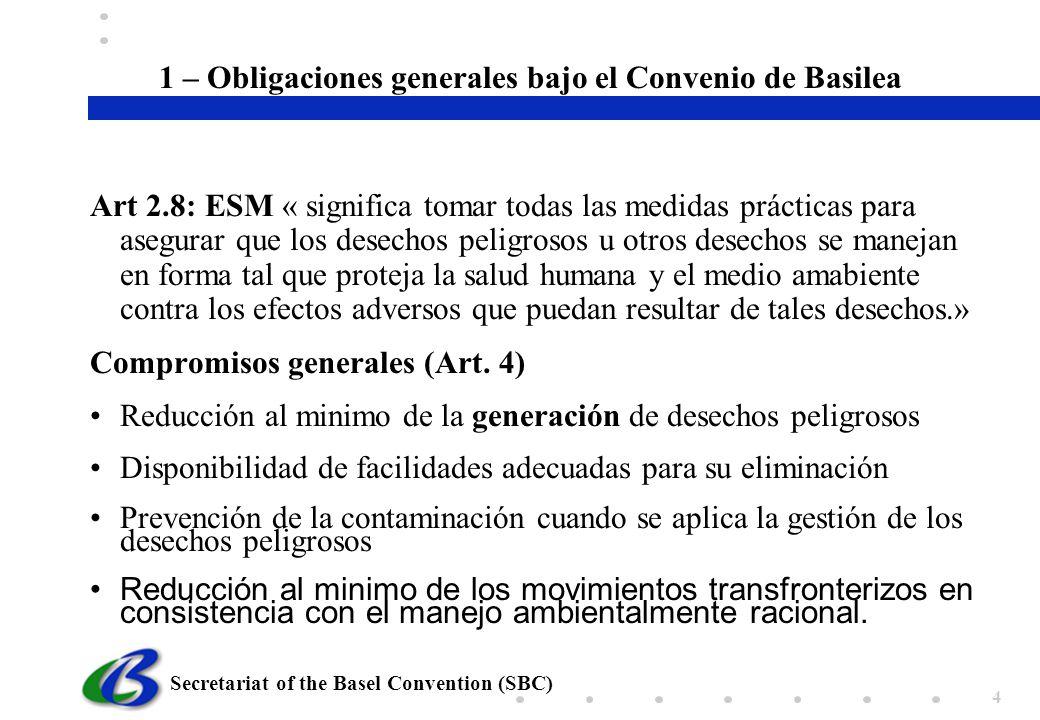 1 – Obligaciones generales bajo el Convenio de Basilea