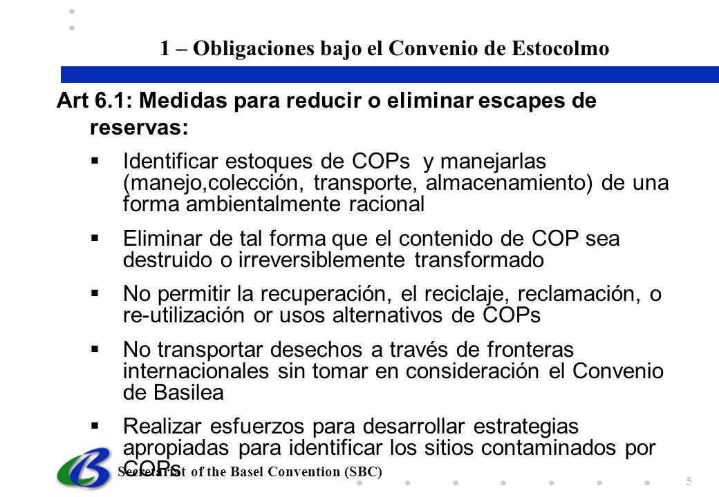 1 – Obligaciones bajo el Convenio de Estocolmo