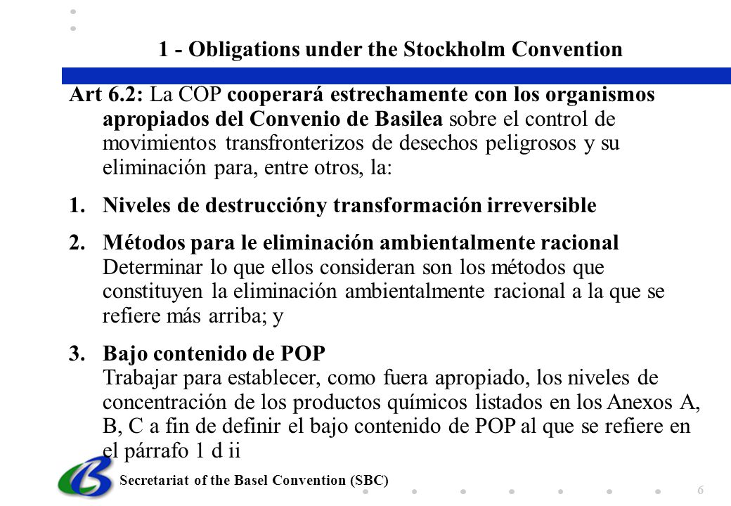 1 - Obligations under the Stockholm Convention