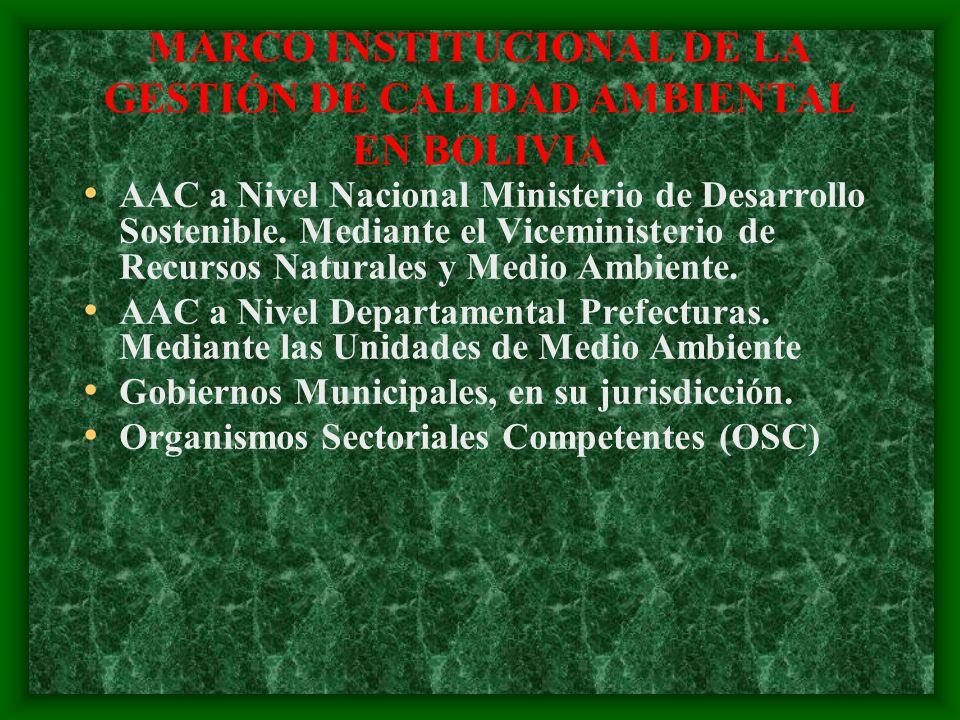 MARCO INSTITUCIONAL DE LA GESTIÓN DE CALIDAD AMBIENTAL EN BOLIVIA