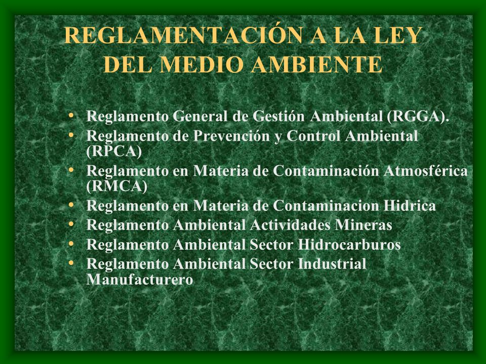 REGLAMENTACIÓN A LA LEY DEL MEDIO AMBIENTE