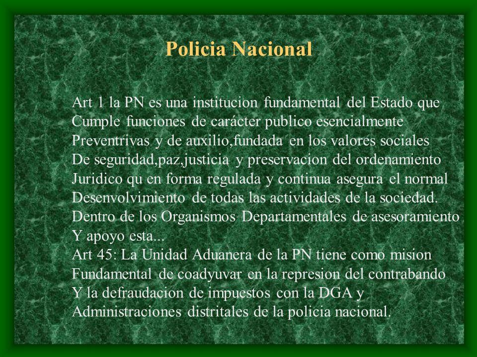 Policia Nacional Art 1 la PN es una institucion fundamental del Estado que. Cumple funciones de carácter publico esencialmente.