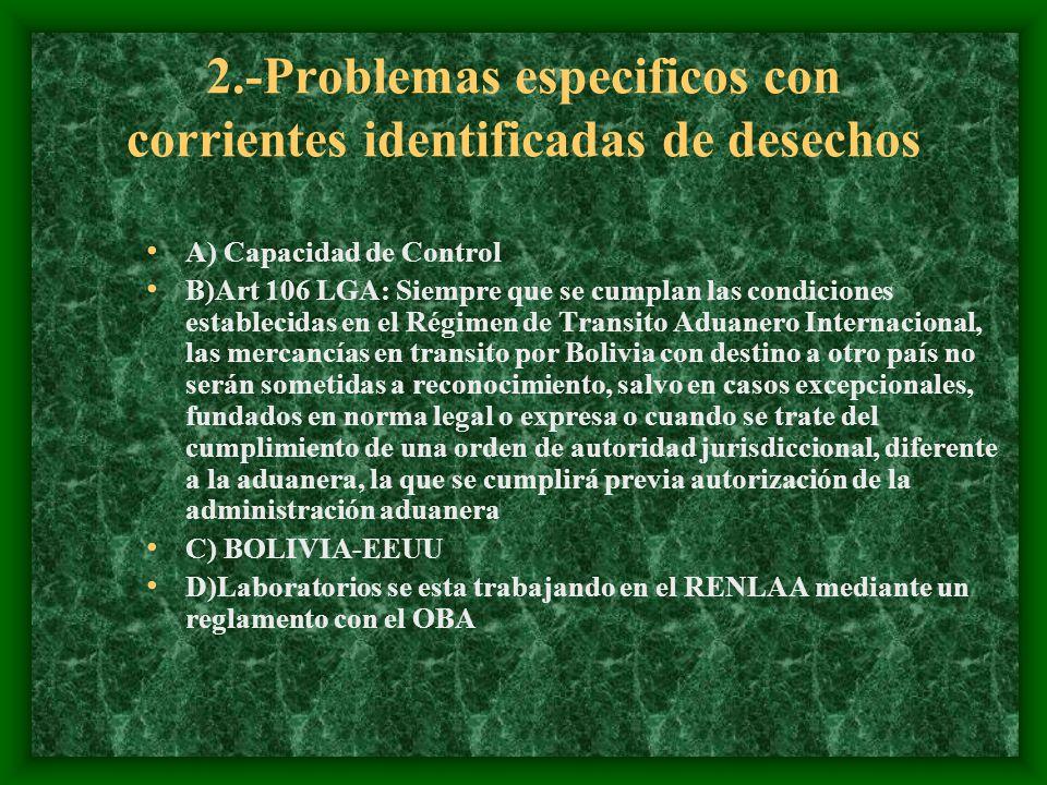 2.-Problemas especificos con corrientes identificadas de desechos