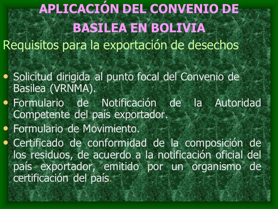 APLICACIÓN DEL CONVENIO DE BASILEA EN BOLIVIA