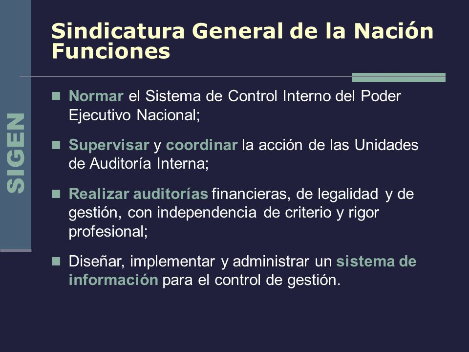 Sindicatura General de la Nación Funciones