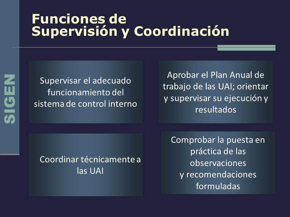 SIGEN Funciones de Supervisión y Coordinación