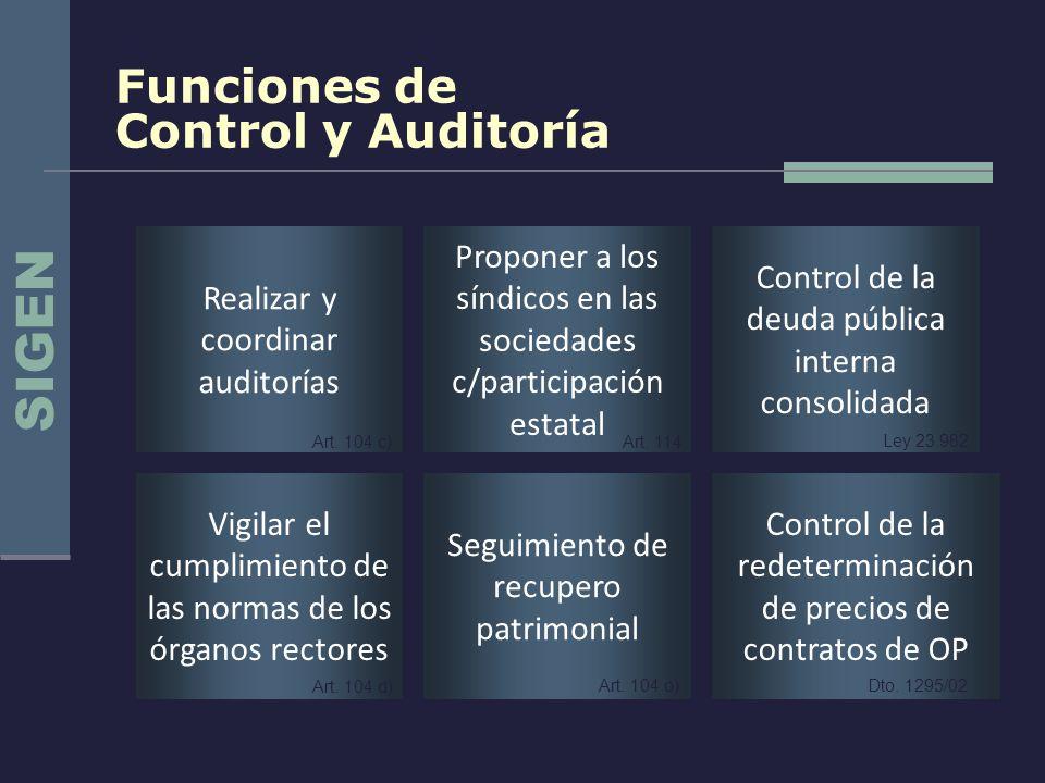 SIGEN Funciones de Control y Auditoría Realizar y coordinar auditorías