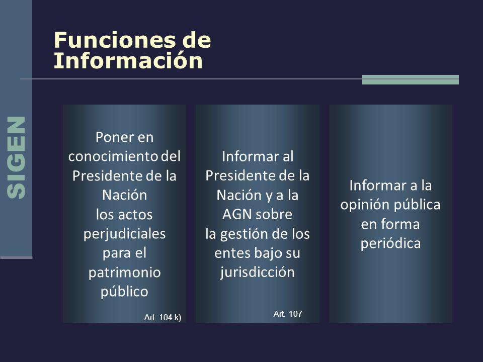 SIGEN Funciones de Información
