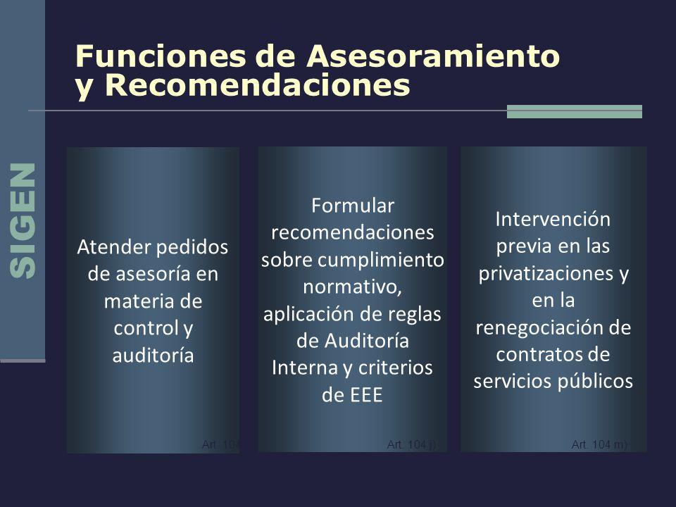 SIGEN Funciones de Asesoramiento y Recomendaciones