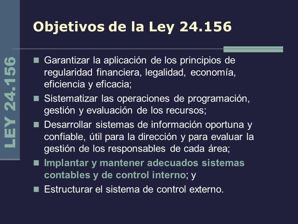 Objetivos de la Ley 24.156 Garantizar la aplicación de los principios de regularidad financiera, legalidad, economía, eficiencia y eficacia;