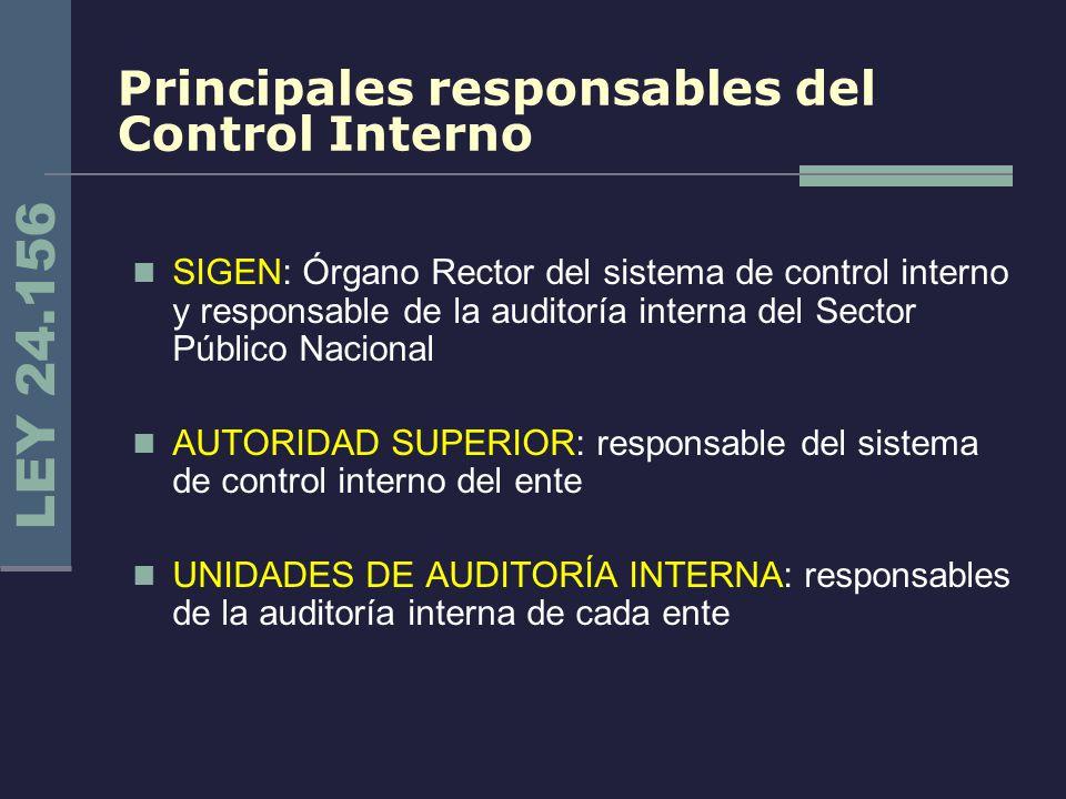 Principales responsables del Control Interno