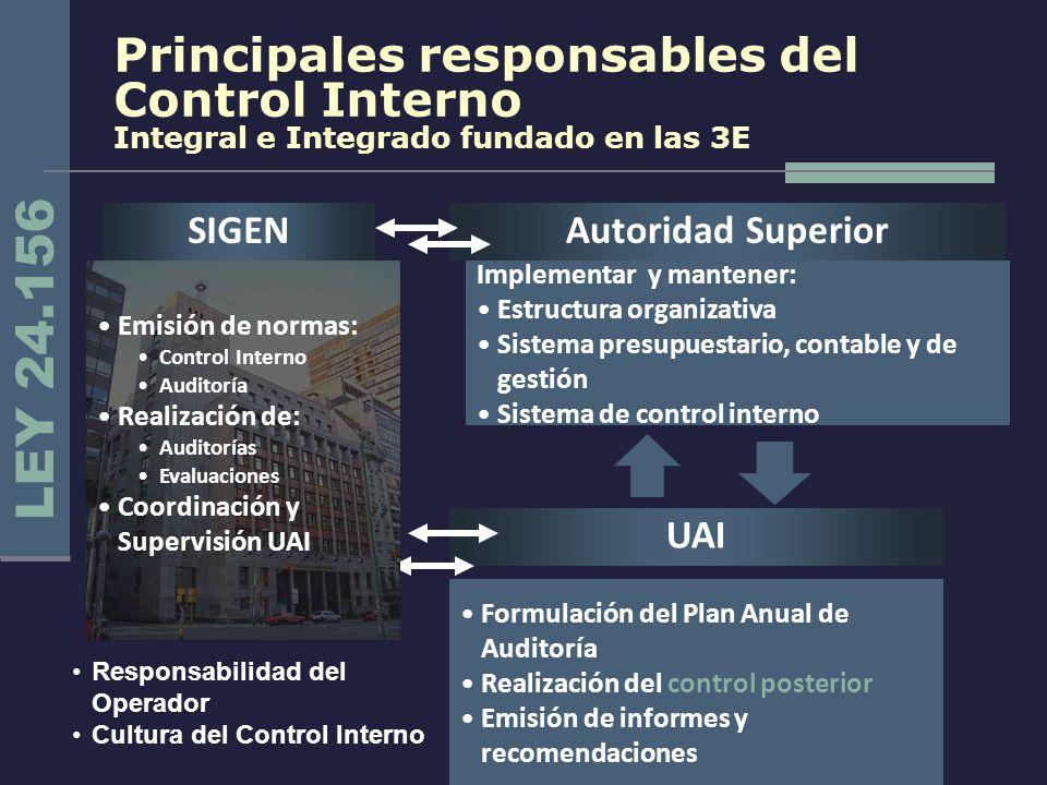 Principales responsables del Control Interno Integral e Integrado fundado en las 3E
