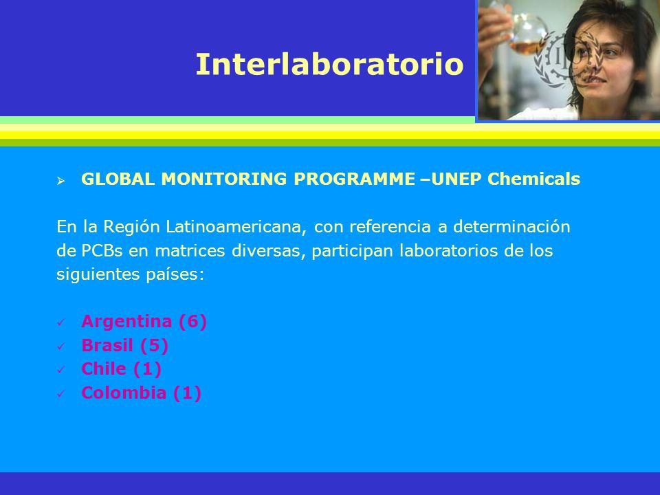 Interlaboratorio GLOBAL MONITORING PROGRAMME –UNEP Chemicals