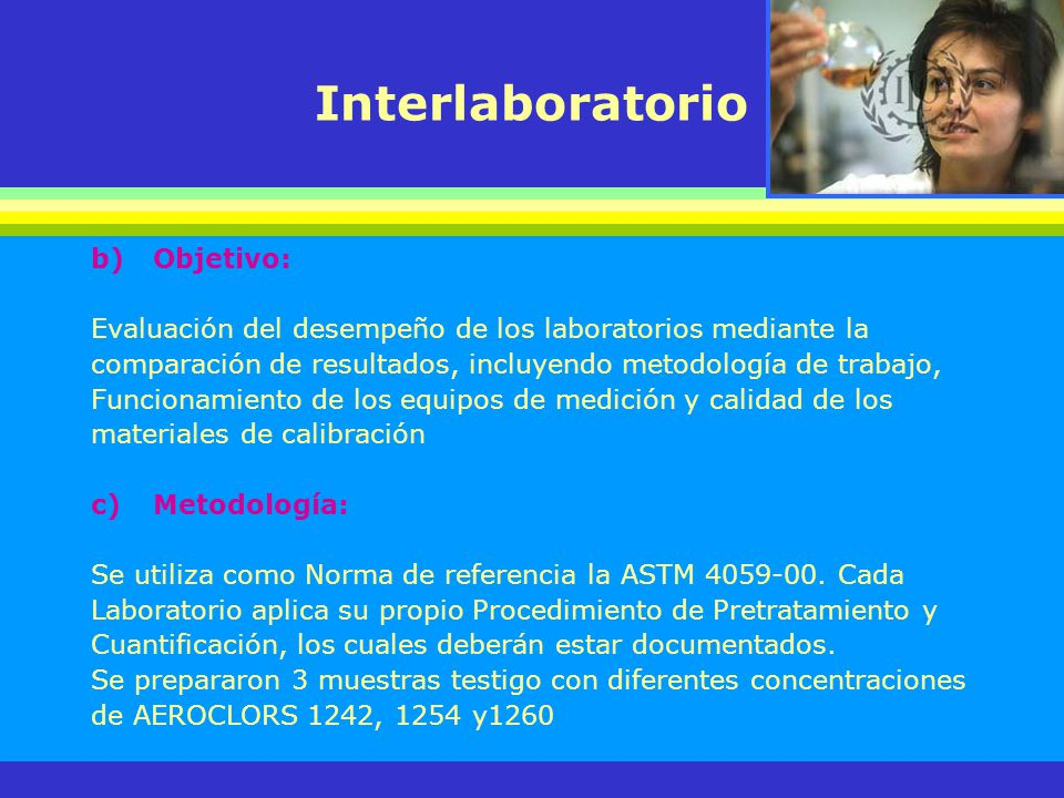 Interlaboratorio Objetivo:
