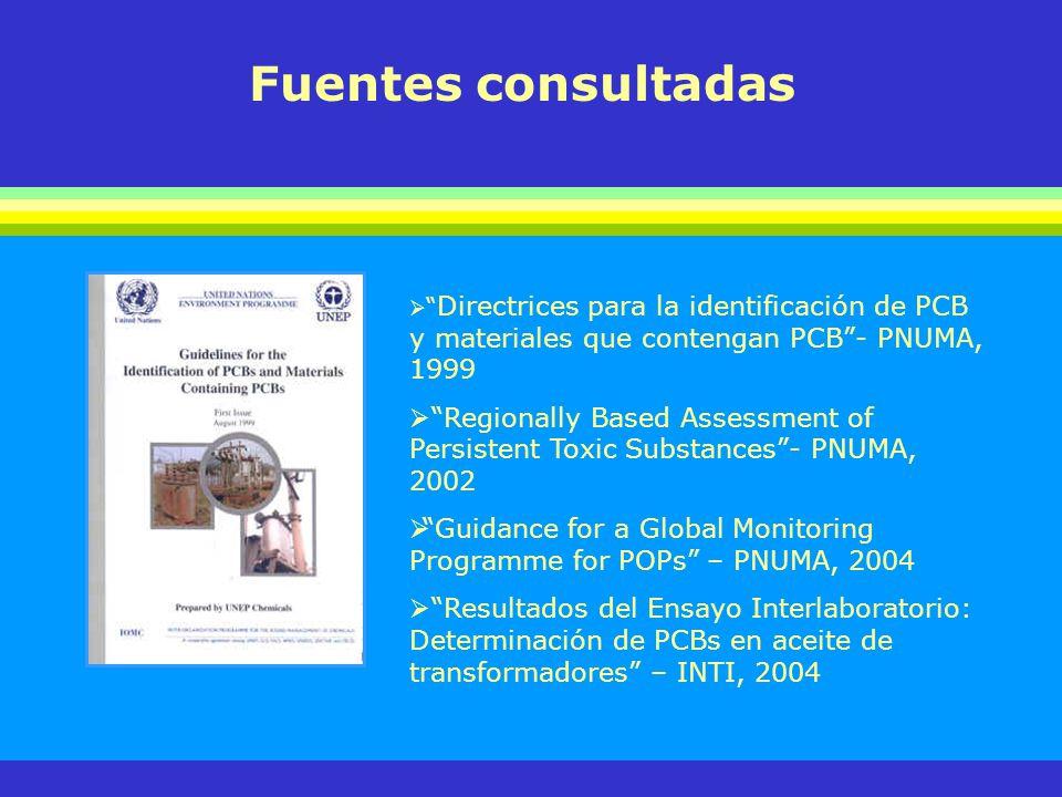 Fuentes consultadas Directrices para la identificación de PCB y materiales que contengan PCB - PNUMA, 1999.