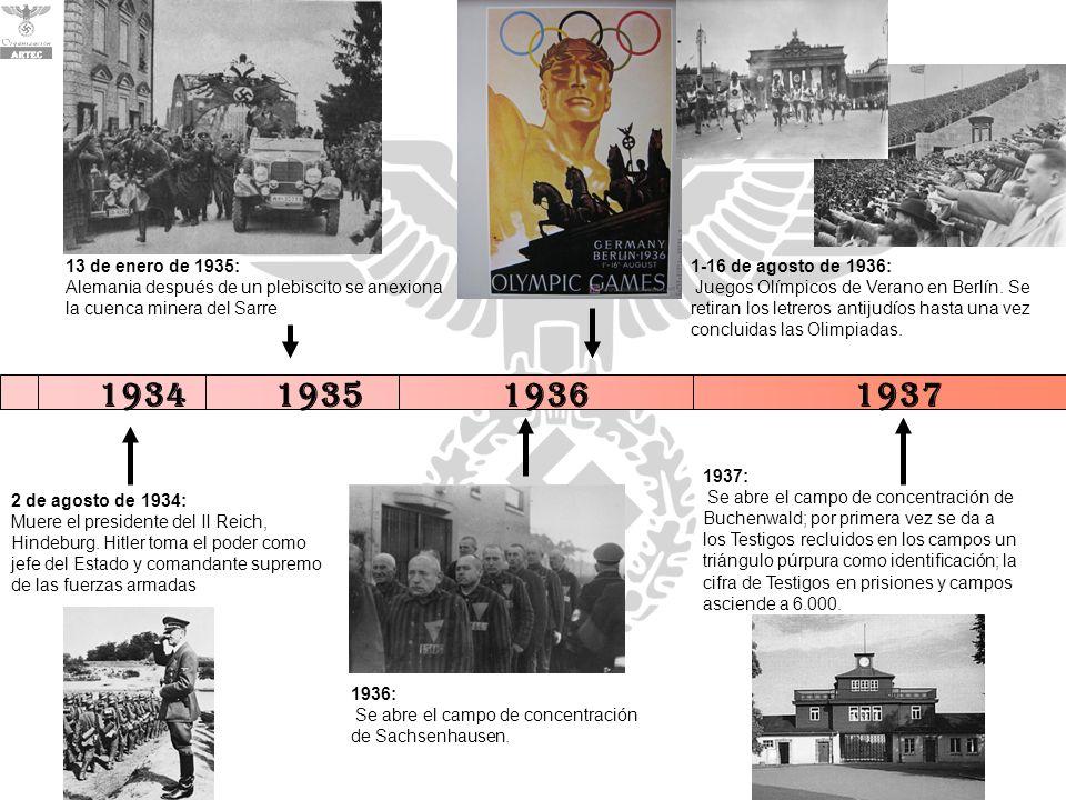 13 de enero de 1935: Alemania después de un plebiscito se anexiona la cuenca minera del Sarre. 1-16 de agosto de 1936: