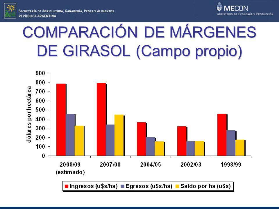 COMPARACIÓN DE MÁRGENES DE GIRASOL (Campo propio)