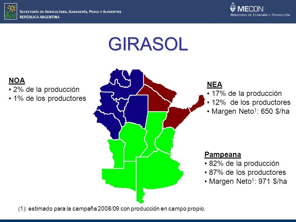 GIRASOL NOA 2% de la producción NEA 1% de los productores