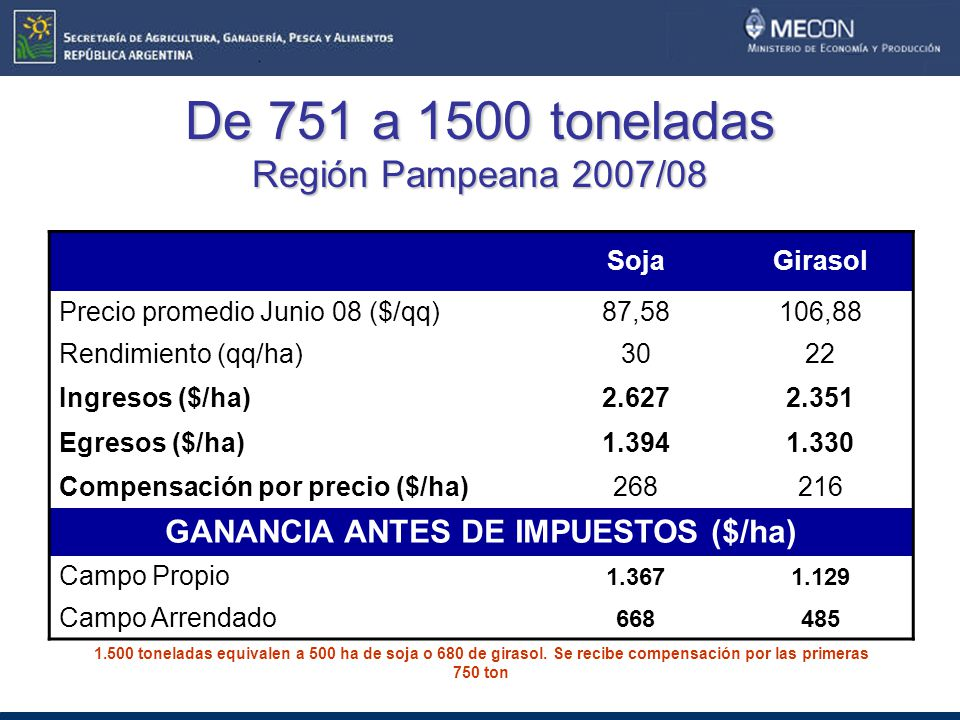 De 751 a 1500 toneladas Región Pampeana 2007/08