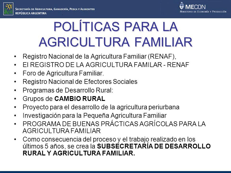 POLÍTICAS PARA LA AGRICULTURA FAMILIAR