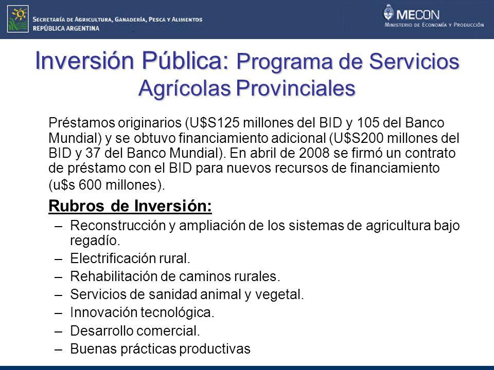 Inversión Pública: Programa de Servicios Agrícolas Provinciales
