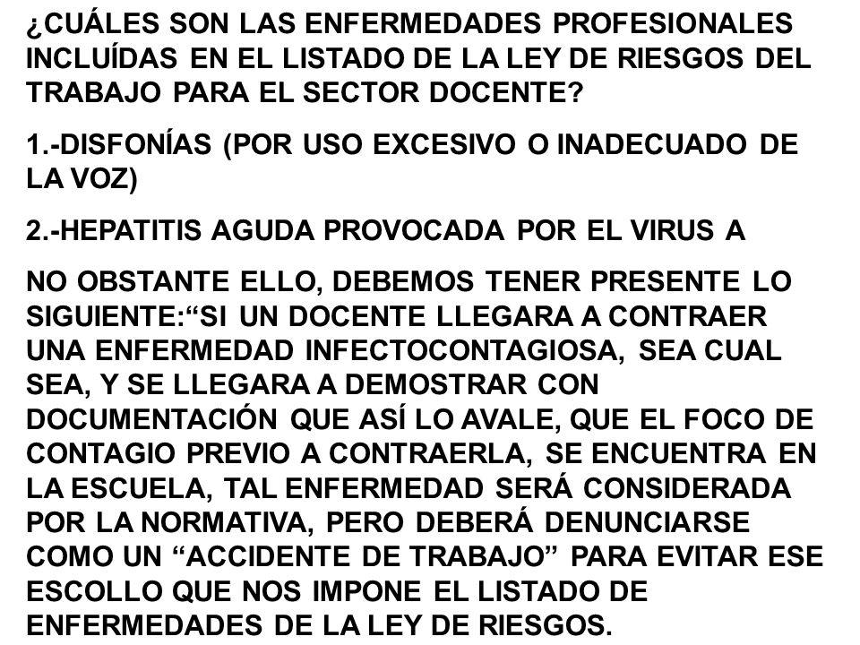 ¿CUÁLES SON LAS ENFERMEDADES PROFESIONALES INCLUÍDAS EN EL LISTADO DE LA LEY DE RIESGOS DEL TRABAJO PARA EL SECTOR DOCENTE