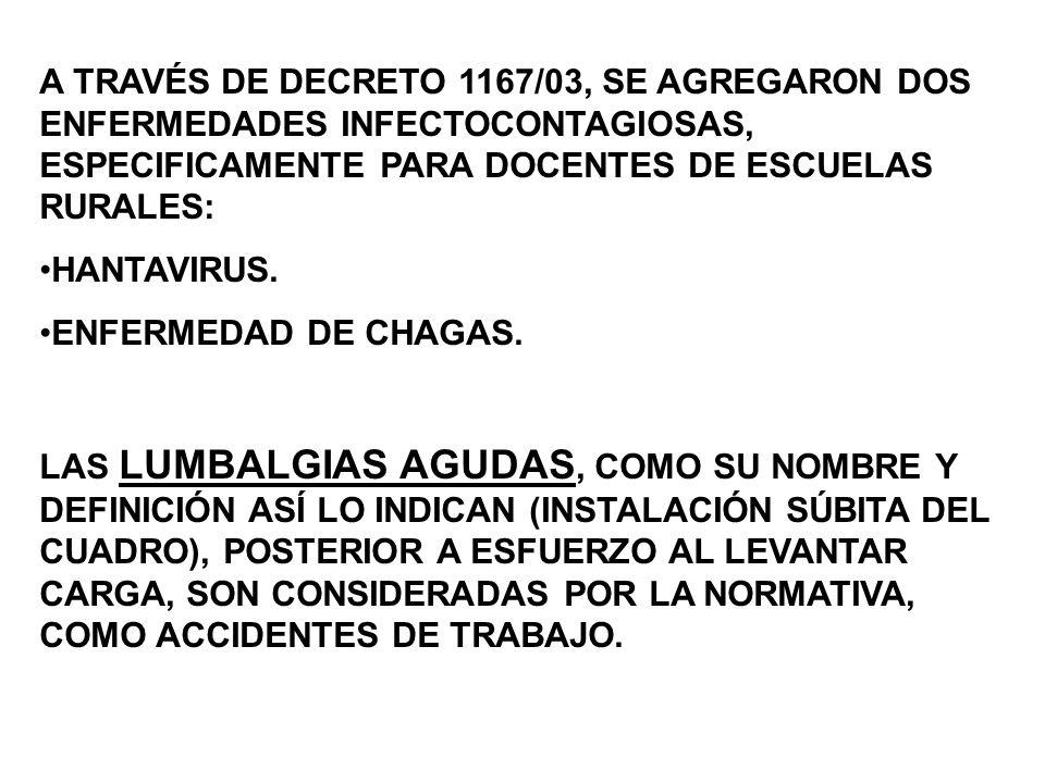 A TRAVÉS DE DECRETO 1167/03, SE AGREGARON DOS ENFERMEDADES INFECTOCONTAGIOSAS, ESPECIFICAMENTE PARA DOCENTES DE ESCUELAS RURALES: