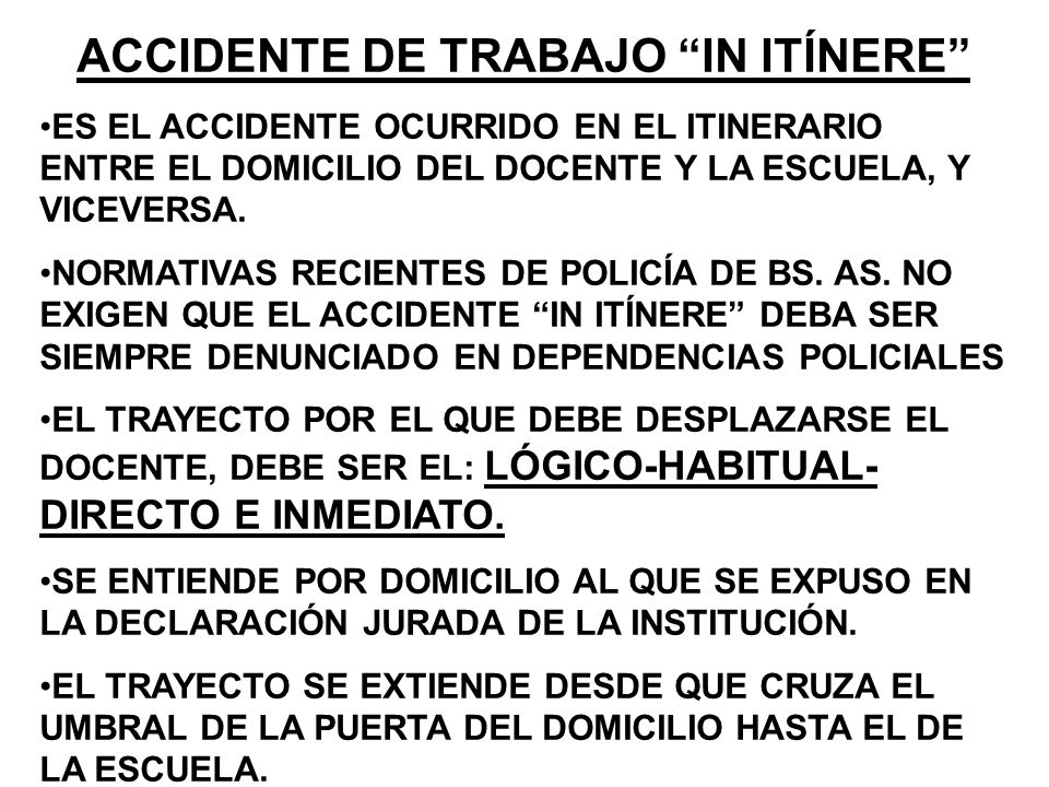 ACCIDENTE DE TRABAJO IN ITÍNERE